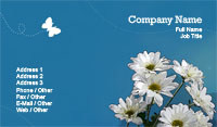 Blue and White Floral Business Card Template